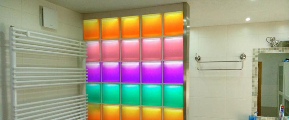 LiBlox LED Glasbausteine Duschwand